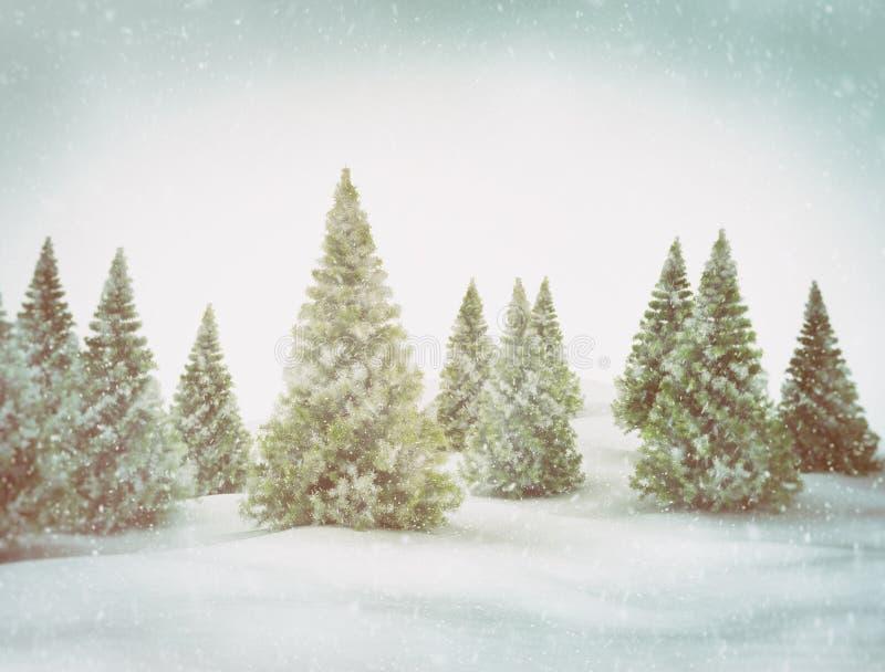 De achtergrond van de winter Kerstmisscène met groene bomen en sneeuw stock illustratie