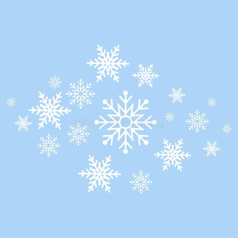 De achtergrond van de winter Witte sneeuwvlokken op blauwe achtergrond De kaart van de groet stock illustratie