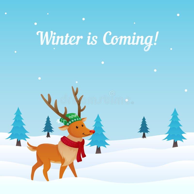 De achtergrond van de de winterscène met leuk gekleed rendier in sneeuw vectorillustratie De kaart van de vakantiegroet, banner,  royalty-vrije illustratie
