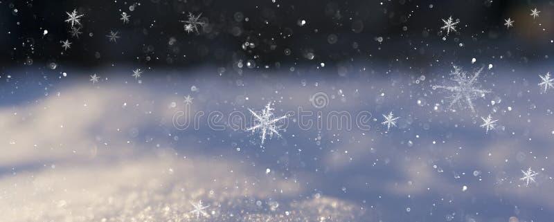 De achtergrond van de de wintersneeuw, blauwe kleur, sneeuwvlokken, de achtergrond van de de Wintersneeuw, blauwe kleur, sneeuwvl stock foto's