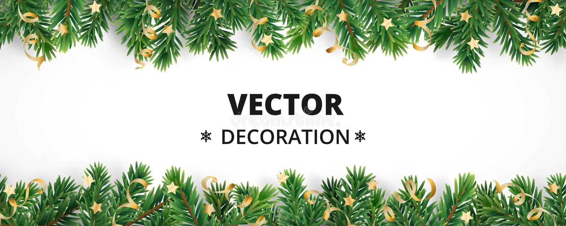 De achtergrond van de de wintervakantie Grens met Kerstboomtakken en ornamenten royalty-vrije illustratie
