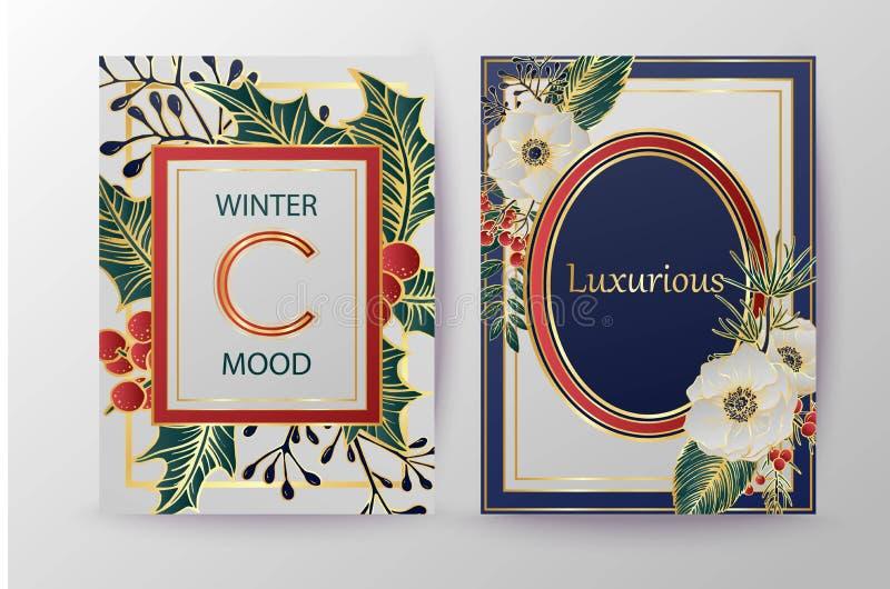 De achtergrond van de de wintervakantie, uitnodiging Het ontwerp van het huwelijkspatroon Bloemenregeling Kerstmis en Gelukkige N vector illustratie