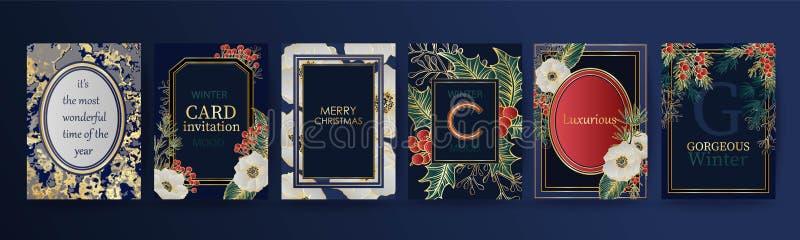 De achtergrond van de de wintervakantie, uitnodiging Het ontwerp van het huwelijkspatroon Bloemenregeling Nieuwjaar, Kerstmiskaar stock illustratie