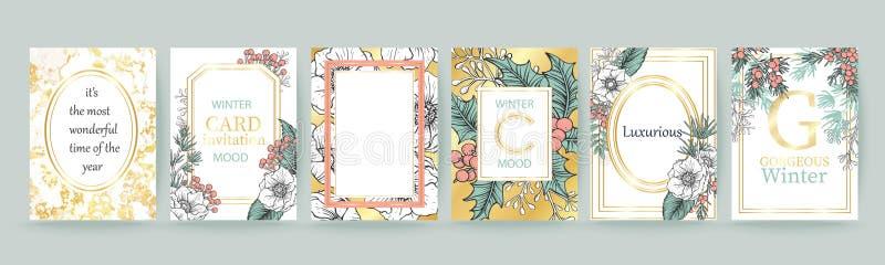 De achtergrond van de de wintervakantie, uitnodiging Het ontwerp van het huwelijkspatroon Plaats voor tekst Vrolijke Kerstmis en  stock illustratie