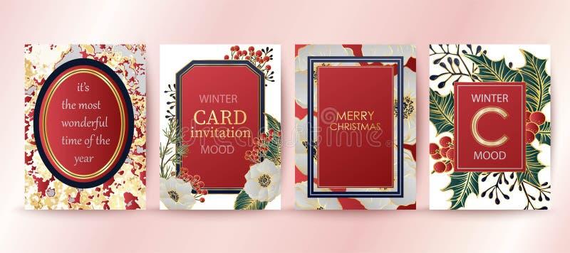 De achtergrond van de de wintervakantie, uitnodiging Het ontwerp van het huwelijkspatroon Vrolijke Kerstmis en gelukkige nieuwe j royalty-vrije illustratie