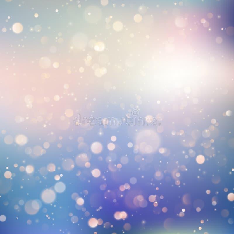 De achtergrond van zachte gevoelige blauwe en purpere pastelkleur kleurde schitterende bokeh lichte bezinningen Eps 10 vector illustratie