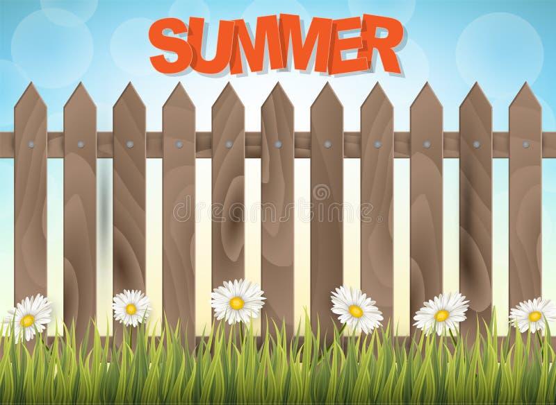 De achtergrond van de de zomertijd Banner of vliegerontwerpconcept met houten omheining, gras, en kamillebloemen Vector illustrat stock illustratie