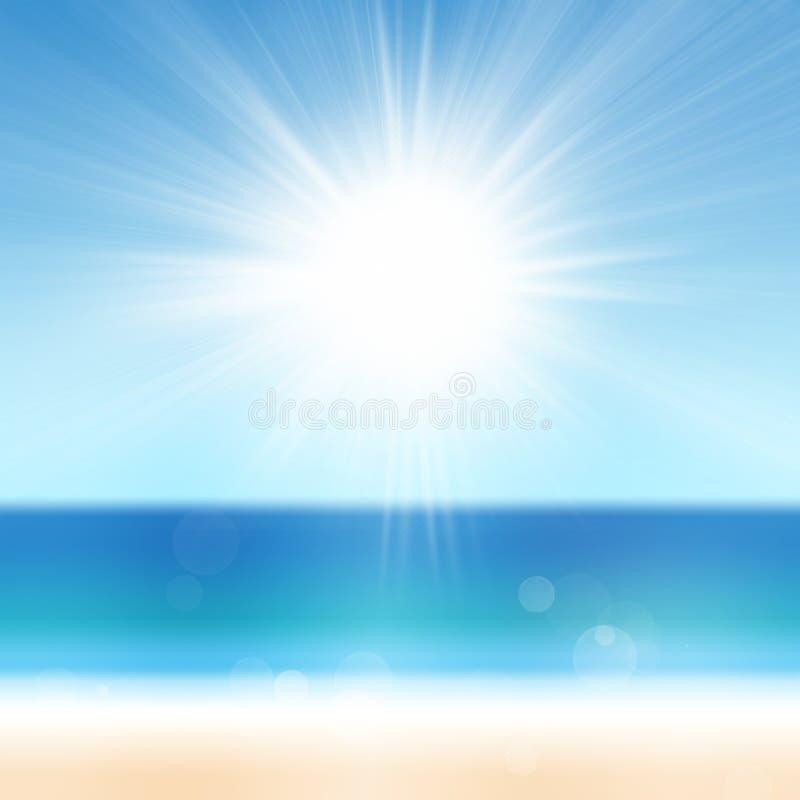 De Achtergrond van de de zomervakantie met Overzeese van het Zandstrand Oceaanzon Blauwe Water en Hemel stock afbeelding