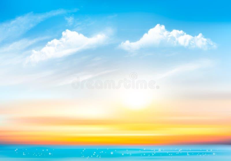 De achtergrond van de zonsonderganghemel met transparante wolken en overzees vector illustratie