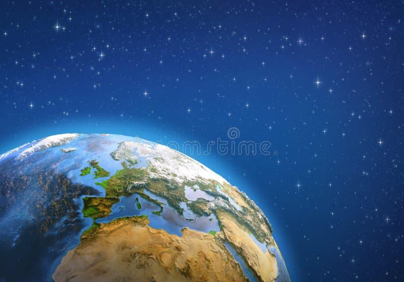 De achtergrond is volledig met sterren Europa van ruimte stock illustratie
