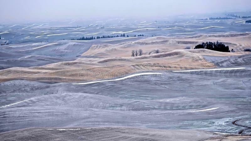 De achtergrond is volledig met sterren Landbouwgronden op rollende die heuvels met vorst en sneeuw in de winter worden behandeld royalty-vrije stock fotografie