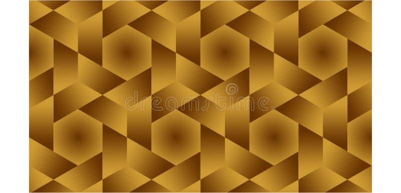De achtergrond voor halve hexagonaal, hexagonaal en de driehoeken zijn gouden gestalte gegeven groep die uit gouden en bruin, abs royalty-vrije stock fotografie