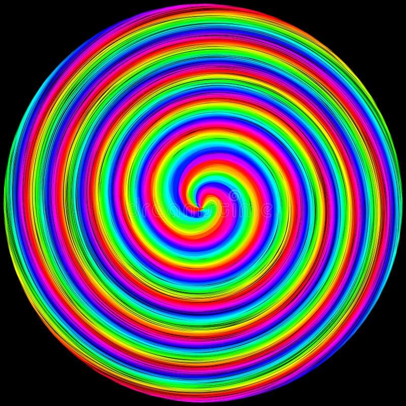 De achtergrond in de vorm van een gekleurde cirkel bewoog op een zwarte spiraalsgewijs royalty-vrije illustratie
