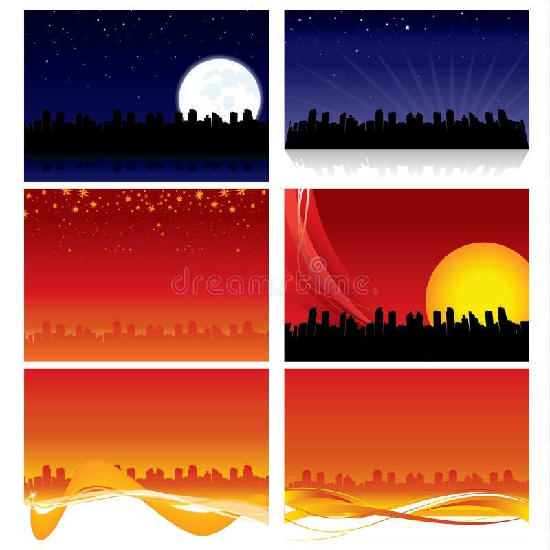 De Achtergronden van de Horizon van de stad stock foto's