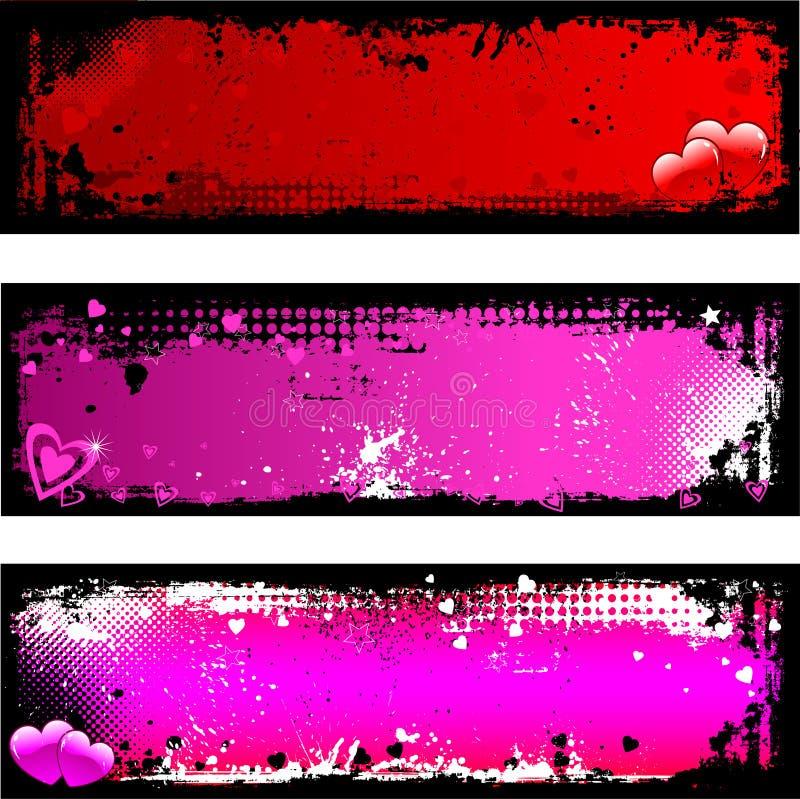 De achtergronden van de Valentijnskaarten van Grunge vector illustratie