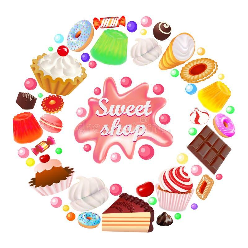de achtergrondsnoepjes winkelen in snoepjes van een cirkel de vectorcakes, koekjes, peperkoek, gelei, heemst vector illustratie