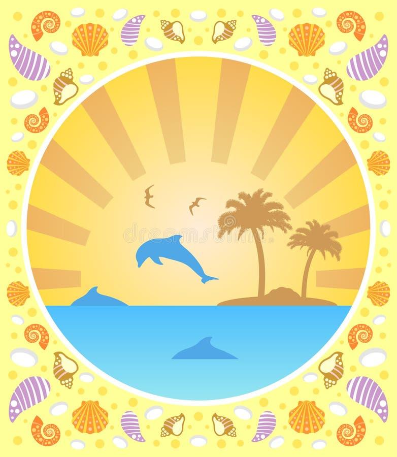 De achtergrondzomer met dolfijnen royalty-vrije illustratie