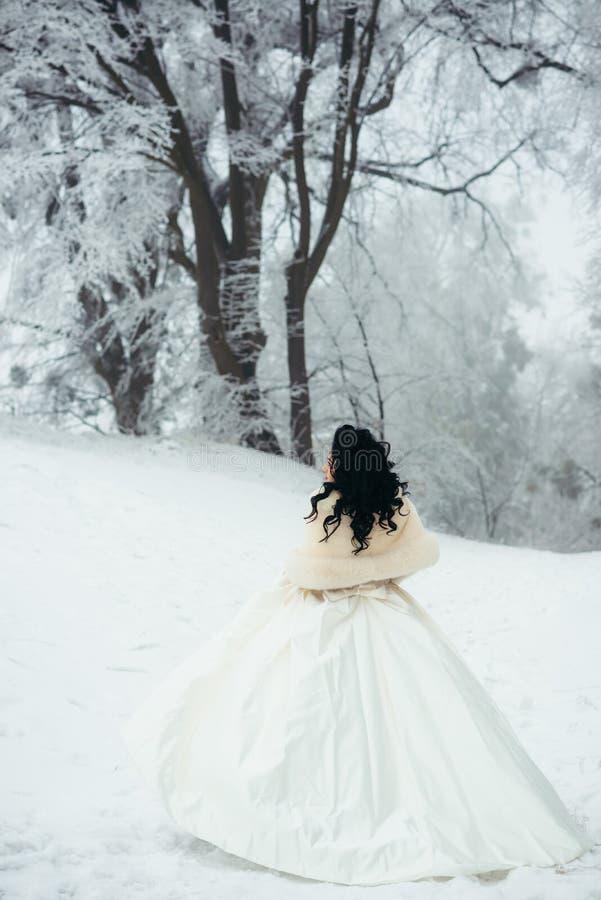 De achtermening van gemiddelde lengte van de mooie donkerbruine bruid die met lang zwart haar langs de sneeuwweg in het bos lopen stock fotografie