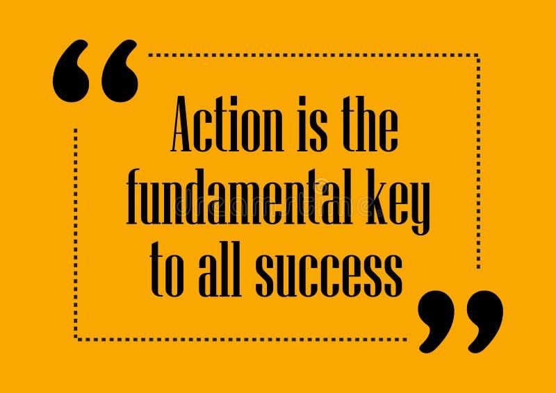 De actie is de fundamentele sleutel van al adreskaartje van het succes Inspirational citaat stock fotografie