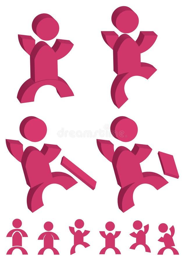 De Actie Icon_eps van mensen stock illustratie
