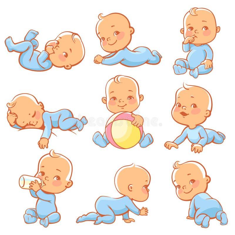De actie, leeftijd, kunst, bal, geboorte, fles, kaart, zorg, beeldverhaal, karakter, kleurrijk kind, kruipt, agenda, tekening, ee royalty-vrije illustratie