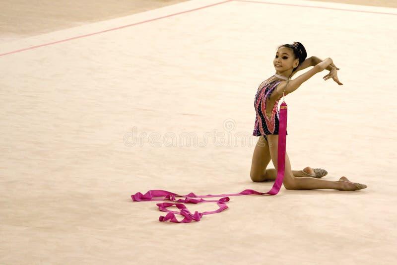De Actie van de gymnastiek stock fotografie