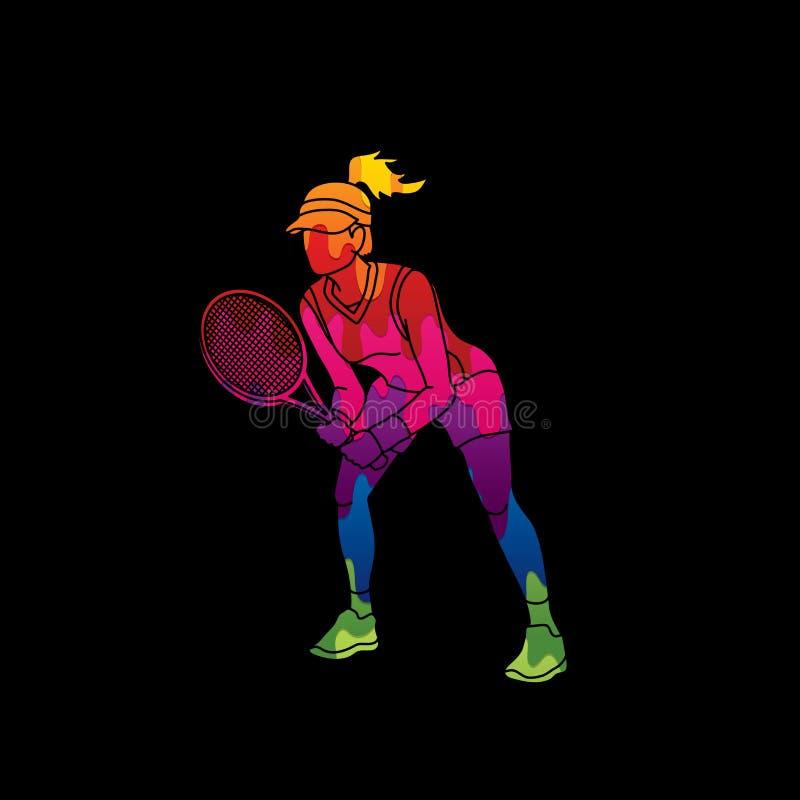 De actie van de tennisspeler, het tennis van het Vrouwenspel vector illustratie