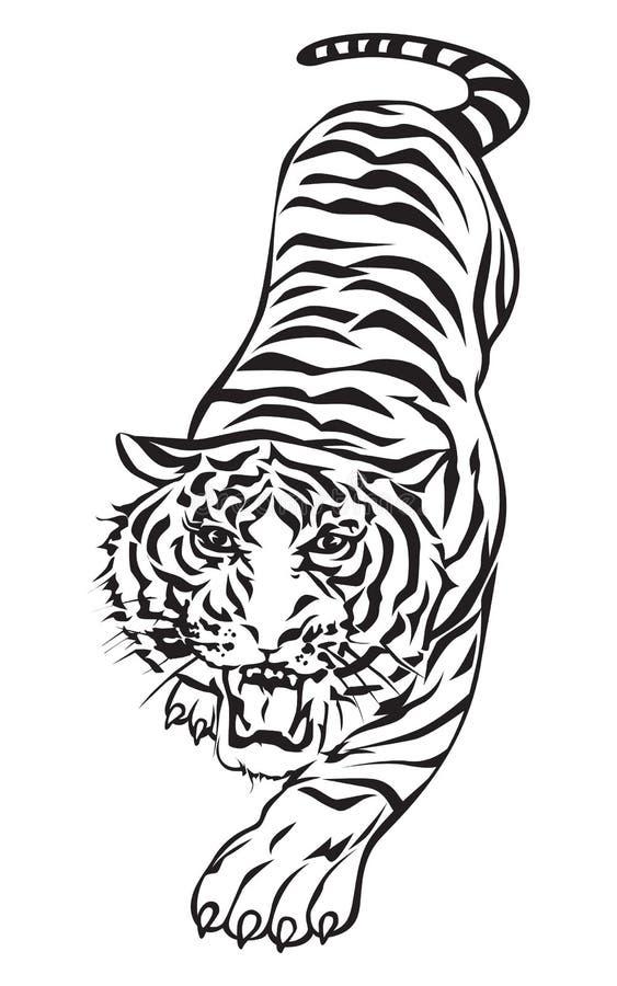 De actie van de tijger royalty-vrije illustratie