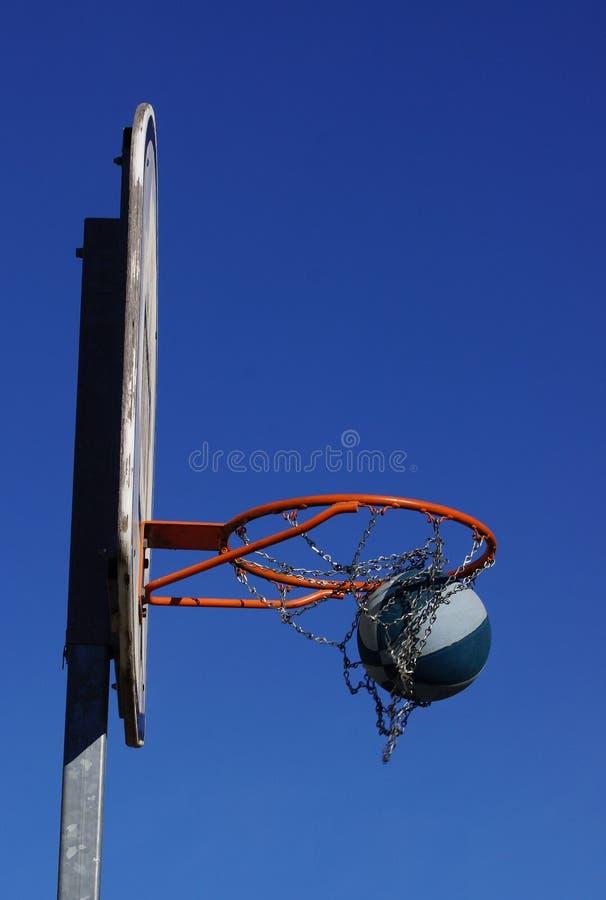 De actie van het basketbalspel in openlucht stock afbeeldingen