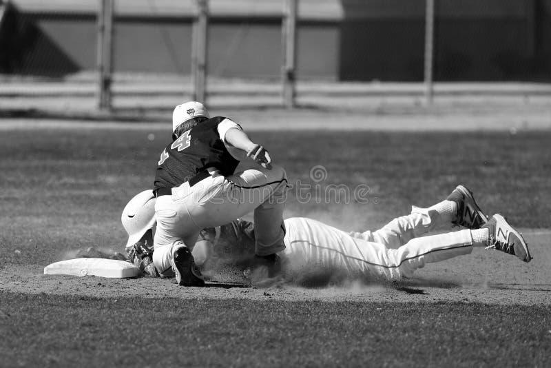 De actie van het honkbalspel stock foto's