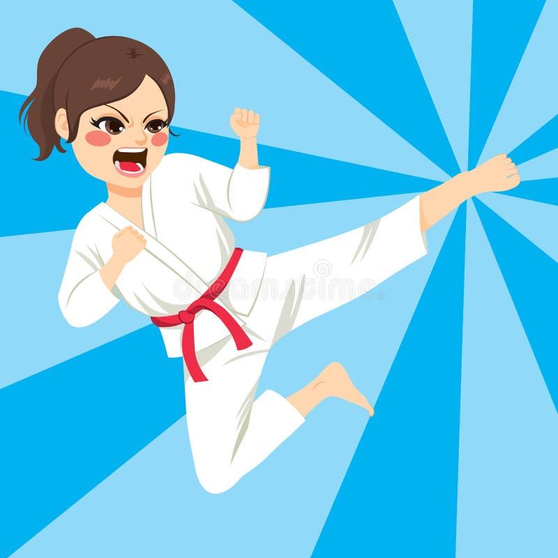De Actie van het karatemeisje vector illustratie