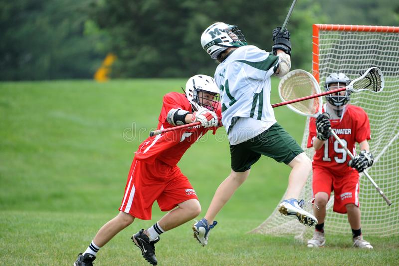 De Actie van de de jeugdlacrosse royalty-vrije stock foto's