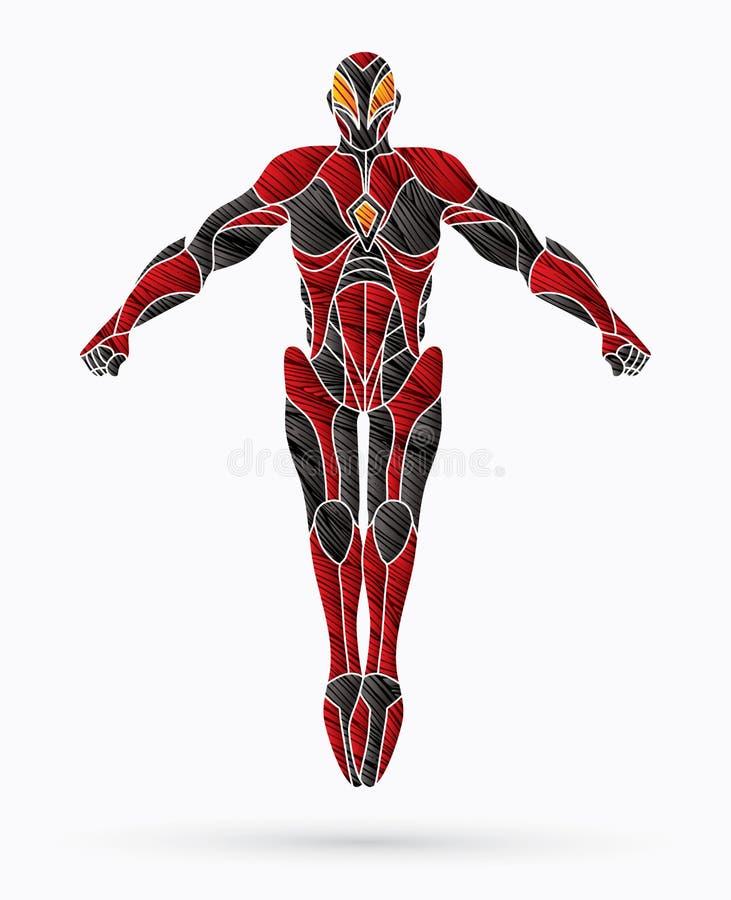 De actie van de Superherorobot, Beeldverhaalsuperhero royalty-vrije illustratie