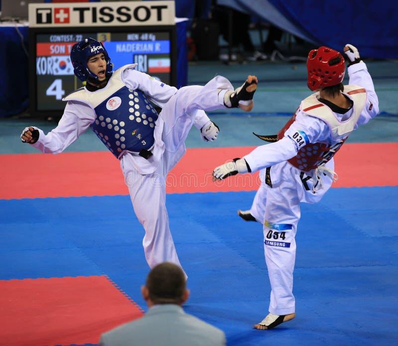 De actie van Taekwondo