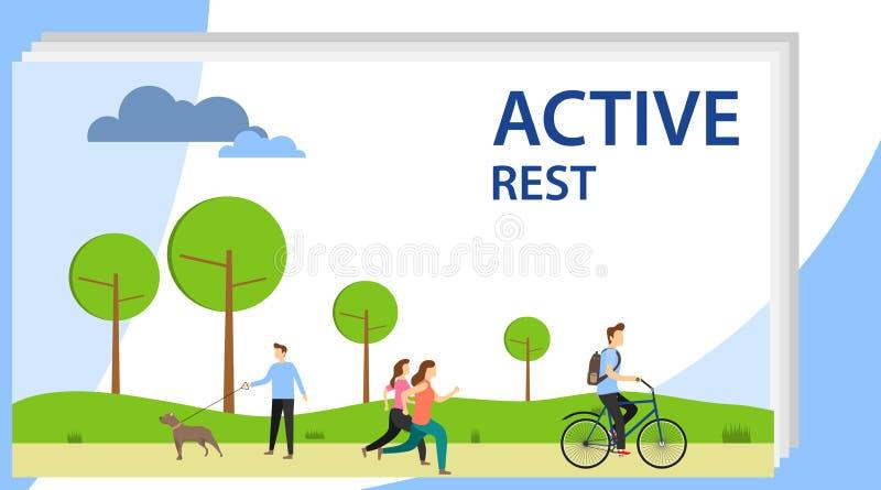 De actieve rust Mensen ontspannen actief in het park, in werking stellen, berijden een fiets, lopen hun honden stock illustratie