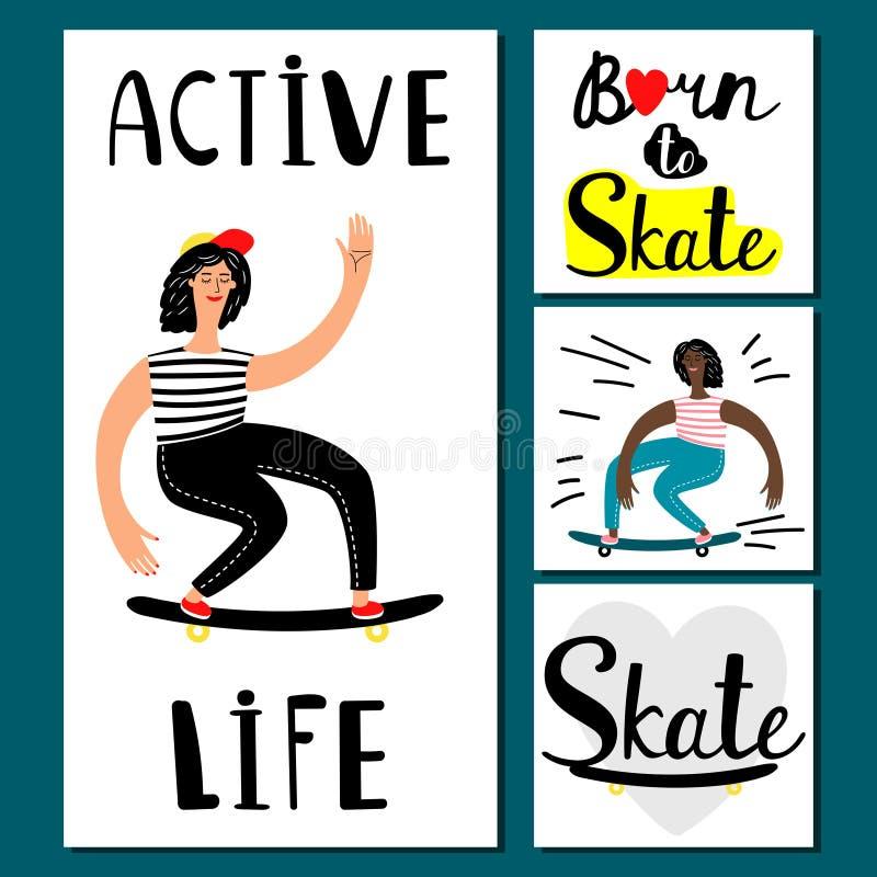 De actieve vectorbanners van het het levensmeisje Tiener het met een skateboard rijden illustratie vector illustratie