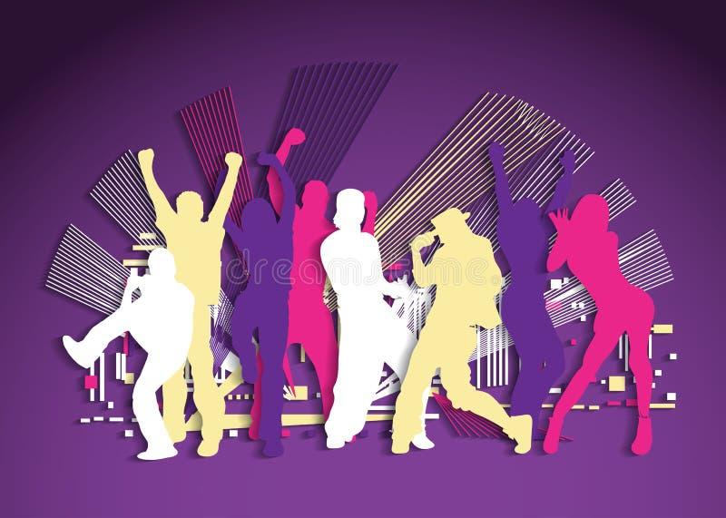 De actieve vlakke het dansen nacht van de mensenpartij royalty-vrije illustratie