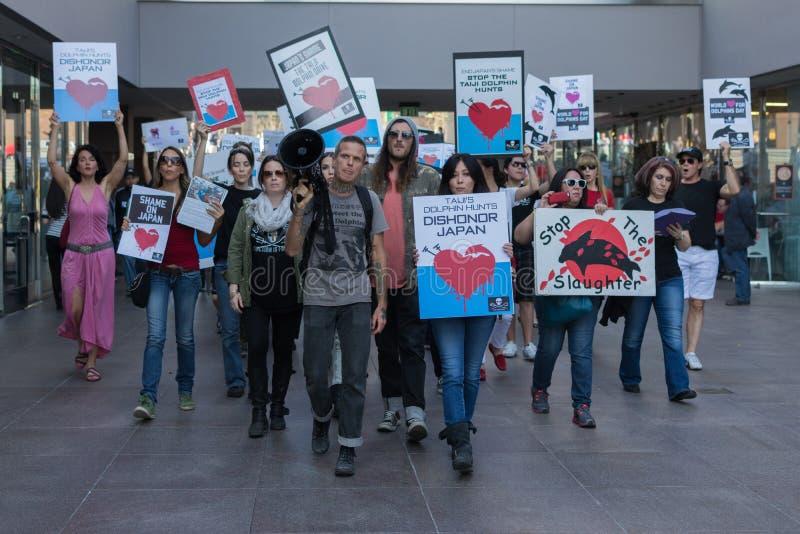 De activisten voor het consulaat van Japan in Los Angeles om de dolfijnen te protesteren slachten in Taiji stock afbeeldingen
