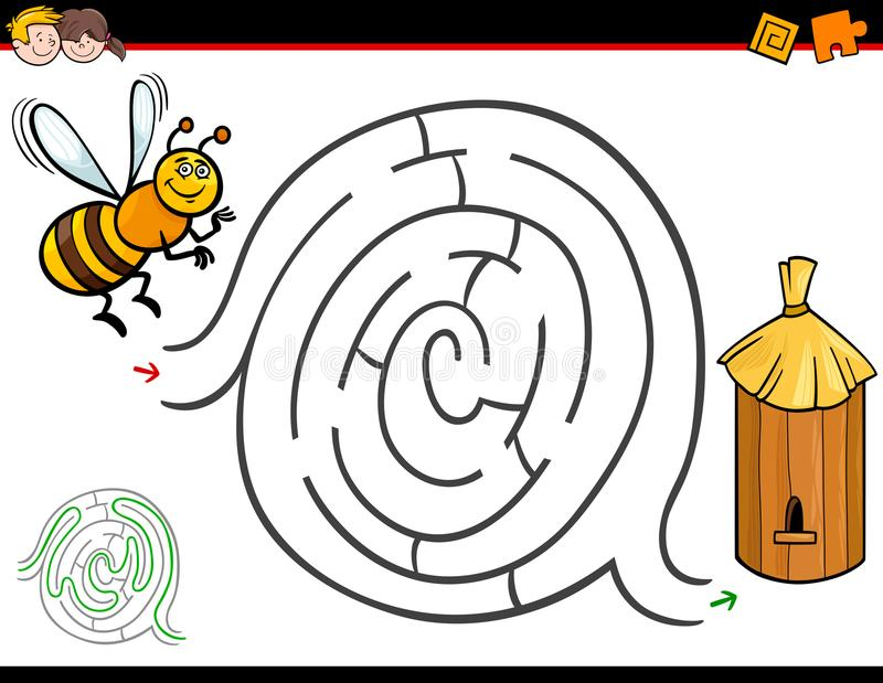 De activiteit van het beeldverhaallabyrint met bij en bijenkorf royalty-vrije illustratie