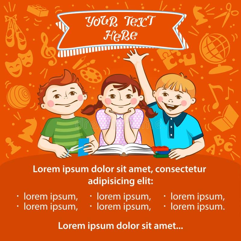 De activiteit van kinderen - malplaatje voor de reclame van vlieger stock illustratie