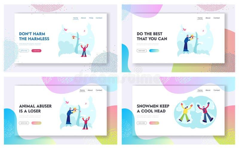 De activiteit van de wintertijd en Sparetime van de Familie Website die Pagina plaatst Vader en zoon Hanging Birdhouse op Tree vector illustratie
