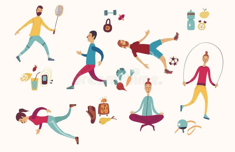 De activiteiten van de mensensport, fitness en voedings Gezonde levensstijl die op dieet zijn vector illustratie