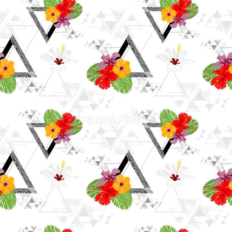 De actuele Plantkundehibiscus bloeien en Monstera-elegante de manierontwerp van het blad het naadloze patroon met de textuurontwe stock illustratie