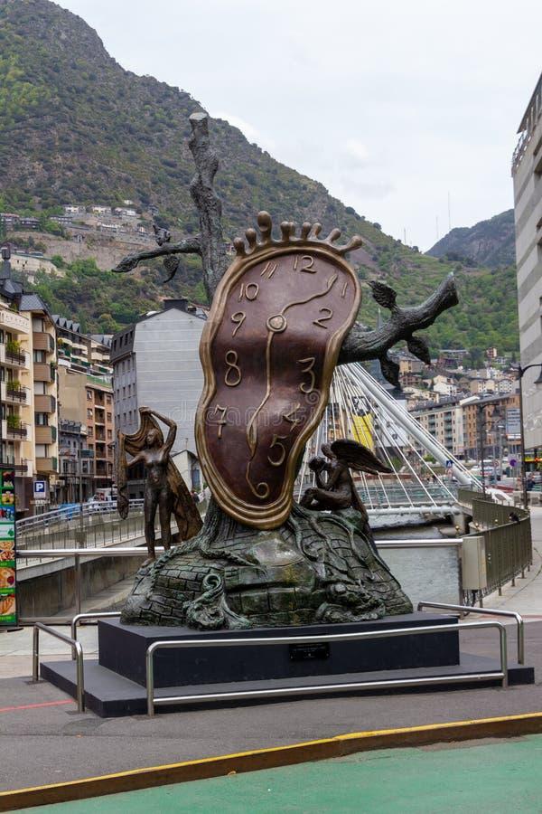 De Adel van Tijdbeeldhouwwerk van Salvador Dali in Andorra royalty-vrije stock afbeelding