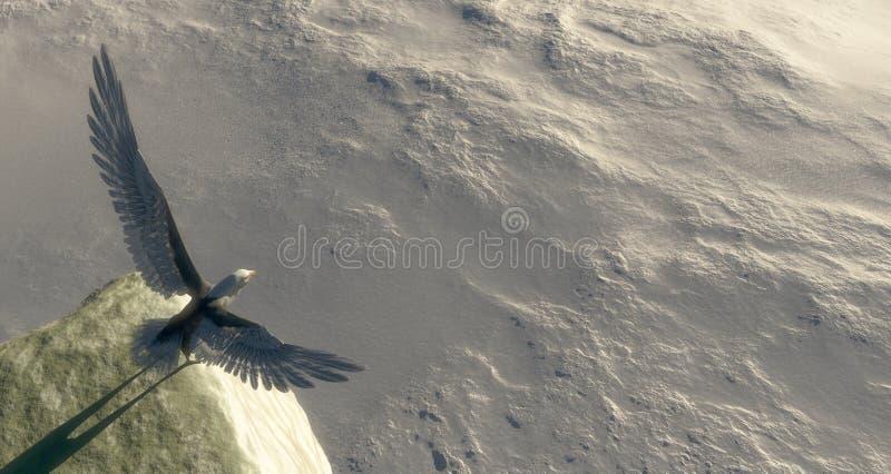 de adelaar met vleugels spreidde een punt uit beginnen te vliegen vector illustratie