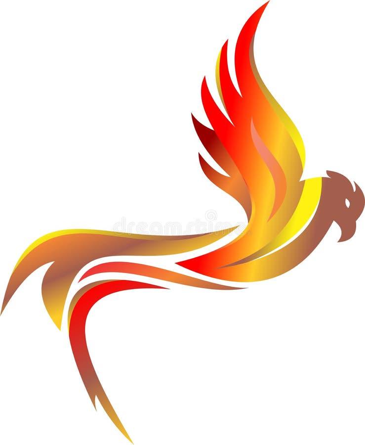 De adelaarsvogel van het voorraadembleem het vlammende vliegen stock illustratie