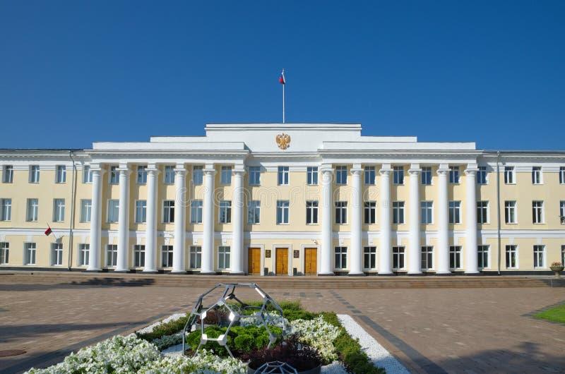 De administratieve bouw op het grondgebied van Nizhny Novgorod het Kremlin, Rusland stock foto