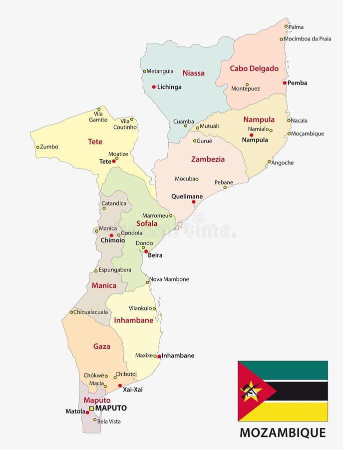 De administratieve en politieke vectorkaart van Mozambique met vlag stock illustratie