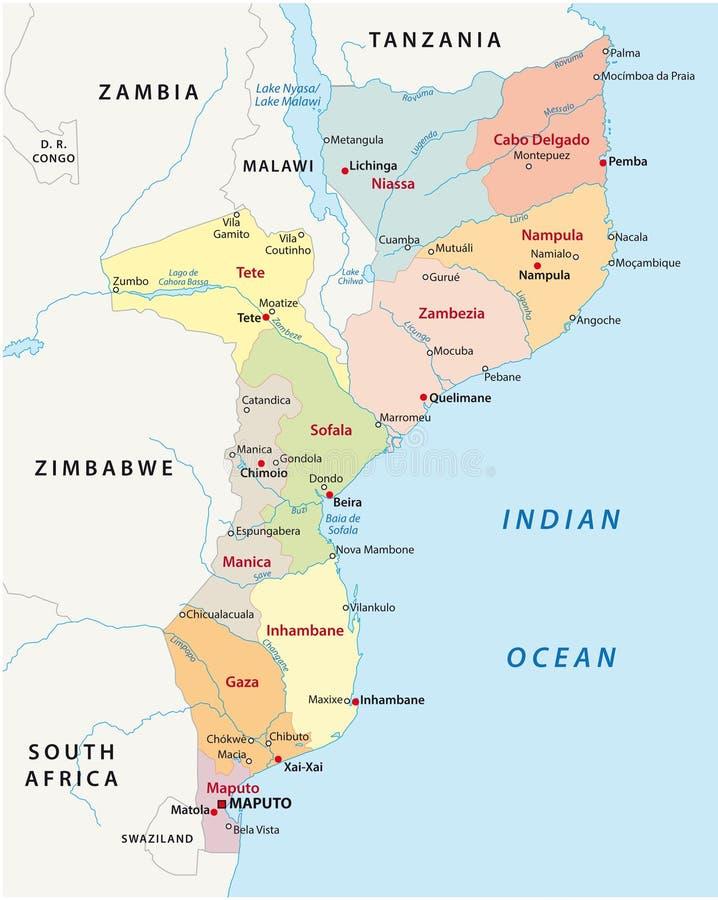 De administratieve kaart van Mozambique vector illustratie
