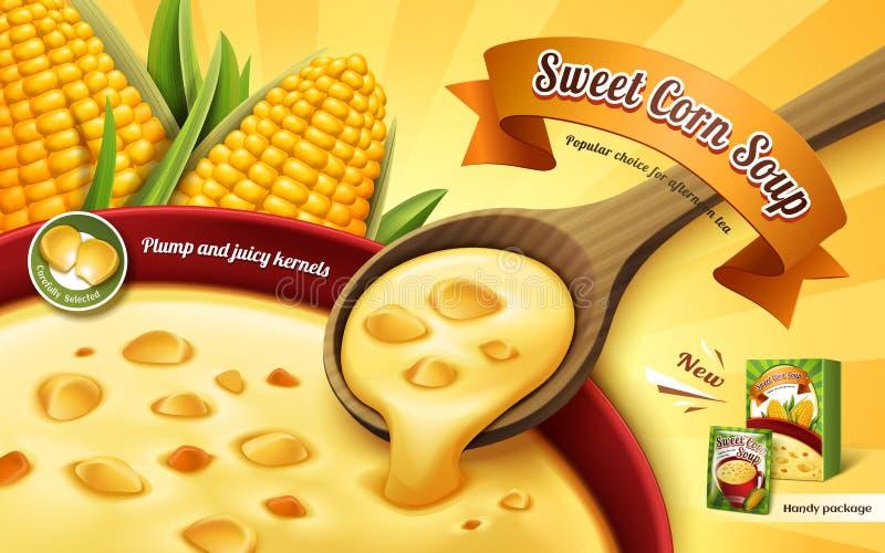 De advertentie van de suikermaïssoep royalty-vrije illustratie